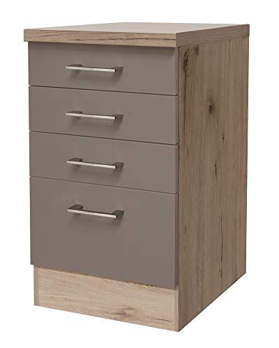 Smart Möbel Schubkastenschrank ohne Arbeitsplatte 50 cm Quarz-Cubanit/San Remo Eiche hell - Rodello