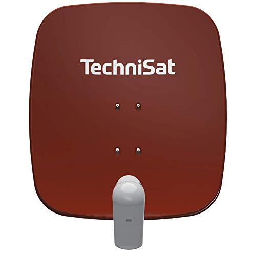 TechniSat SATMAN 65 PLUS - Satellitenschüssel (65 cm Sat Spiegel mit Masthalterung und UNYSAT Quattro-LNB im Wetterschutz-Gehäuse, Multischalter wird benötigt) rot