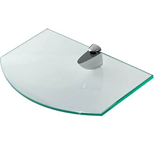 Glasregal Wandregal - Glas Regal aus 6 mm Sicherheitsglas 25,4 x 14 x 0,6 cm - Glasablage Glasregalboden Badablage