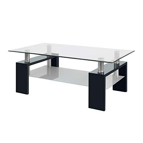 duehome Mesa Centro Moderna de Cristal, Patas lacadas Color Negro, Medidas: 110 cm (Largo) x 60 (Ancho) x 45 cm (Alto)
