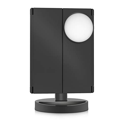 KK Zachary Espejo de maquillaje negro con 22 luces LED, pantalla táctil, espejo de lujo 1X/2X/3X/10X, mesa ajustable de 180 grados