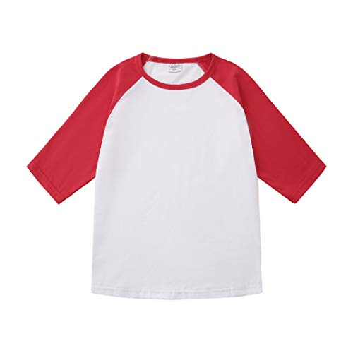 Toddler Baby Girls Boys 3/4 Sleeve Shirts Raglan Shirt Baseball Tee Cotton T-Shirt (Red, 1-2 Years)