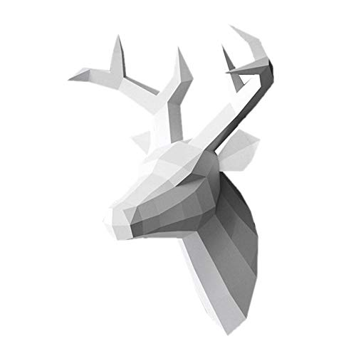 MagiDeal Trofeo de Pared de Papel DIY; Pieza de Arte de decoración de Pared de Cabeza de Ciervo de Origami; Plantillas de Papel precortadas y puntuadas, Blanco