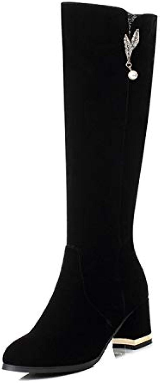 HRCxue Pumps Wildleder Strass Seite hohe Ferse hohe Stiefel Stiefel Stiefel schlank wild, schwarz, 39