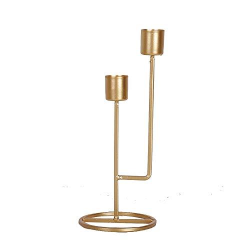 SMXGF Dubbele Slots Beknopte en Vogue Gouden Kandelaar Candelabra for Wedding Party Dinner Christmas Decoration Candle Holders (Color : Gold)