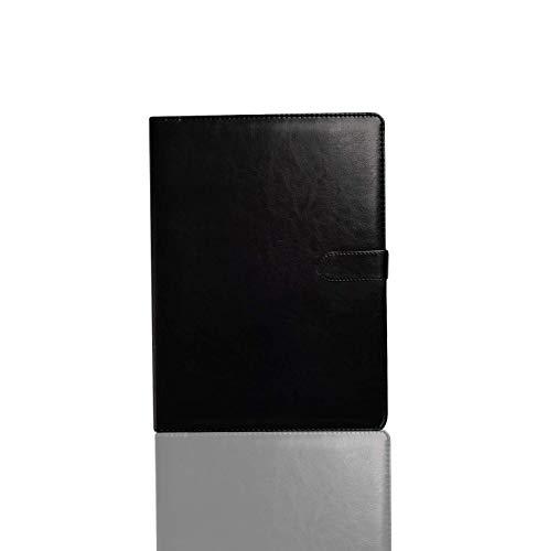 Portafolio de tamaño A4, organizador de documentos de negocios ejecutivo con portapapeles y bloc de notas, tarjetero para la escuela, oficina, conferencia (negro)