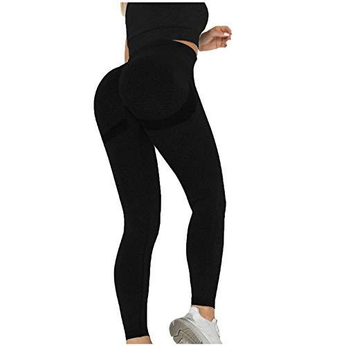 Pantalones de yoga, pantalones de yoga de cintura alta para mujer, color puro, levantamiento de cadera, deportes, fitness (negro L)