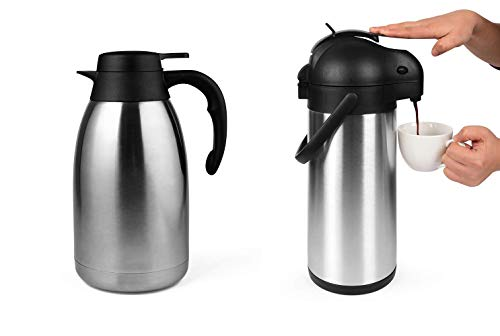 Cresimo 101 Oz (3L) Airpot and 68 Oz Thermal Coffee Carafe bundle featuring a Stainless Steel Flask and Double Walled Coffee Dispenser with 12 Hour Heat Retention - perfect for any choice in beverage