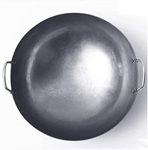 Sartén WYCGDWokSartén antiadherente deacero pesado para el hogar con martillo de mano Acero al carbono Hierro fundido Sartén Wok de doble oreja