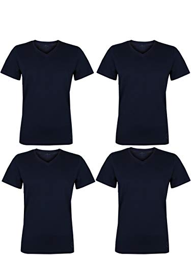 TOM TAILOR 4er Pack Herren T-Shirt V-Ausschnitt Kurzarm Basic Uni Tee Shirt Regular Fit 100% Baumwolle, Größe:XXL, Farbe:4X Sky Captain Blue (V-Neck)