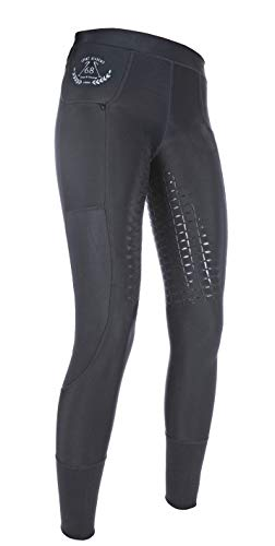 HKM Unisex - Erwachsene Hose Reitleggings -Mesh- Silikon-Vollbesatz, 9100 schwarz, 32/34, HKM 4057052211300