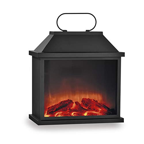 EASYmaxx LED-Kamin | Lodernde Flammen | Schwarz (Laterne groß (30 x 18 x 31,5 cm))