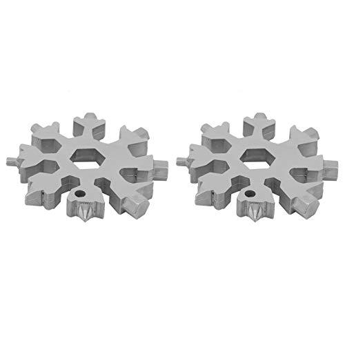 2 piezas 18 en 1 multiherramienta de copo de nieve, destornillador con forma de copo de nieve, llave portátil multifunción, herramientas para exteriores(Plata)