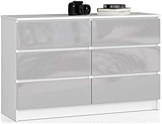 ADGO Commode moderne K120 avec 6 tiroirs 120 x 40 x 77 cm - Pour chambre à coucher, salon - Avant en acrylique brillant (a...
