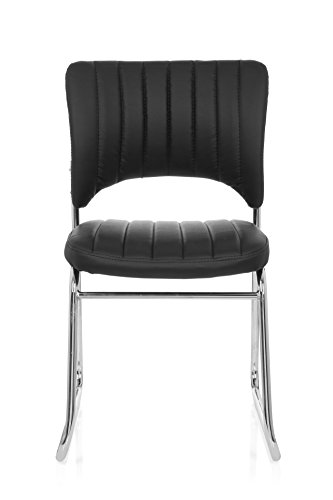 hjh OFFICE 706801 Besucherstuhl CASPI V Kunst-Leder Schwarz Konferenz-Stuhl Kufengestell Rücken-Lehne Warte-Zimmer Büro