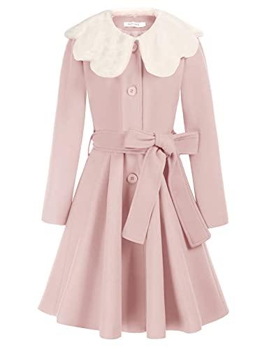 Girls Dress Coat Lapel Ruffle A-Line Overcoat Winter Pea Coat with Belt Pink 7Y