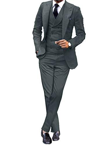 UMISS Uomo Abito 3 Pezzi Slim Fit per Uomo Peak Revel Casual/Formale/Smoking da Sposa