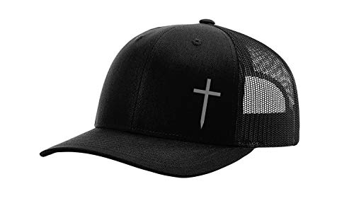 Trenz Shirt Company Christian Embroidered Cross Hat, Black