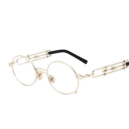 Vintage Steampunk Gafas de Sol Mujeres Retro Metal Redondo Gafas de Sol Hombres Negro Rojo Claro Lente Mujer Eyewear UV400 Oculos De Sel (Color : 9, Size : H)