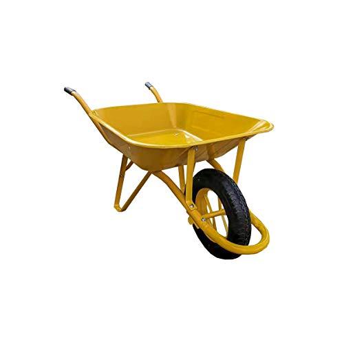 Carretilla obra amarilla portatil 85 litros desmontada con rueda neumatica