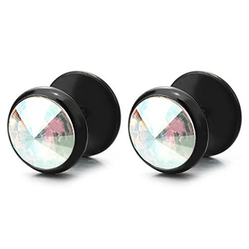 10MM Enchufe Falso Fake Plug, Negro Pendientes de Hombre Mujer, Aretes, Acero Inoxidable, con Arco iris Cristal 2 piezas