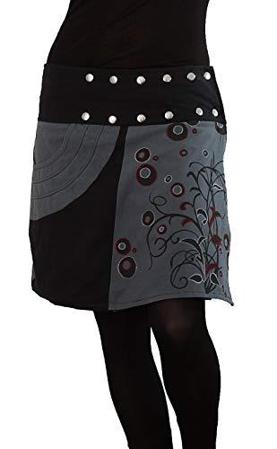 PUREWONDER Damen Wickelrock Baumwolle Rock mit Tasche sk175 Grau Einheitsgröße verstellbar
