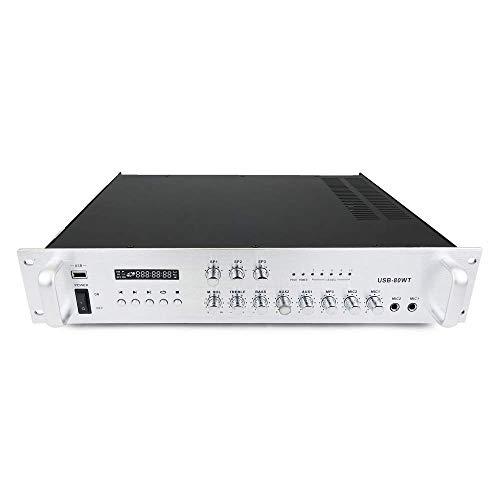 Cablematic–amplificación del Sonido Profesional 80W 110V 3Zonas con MP3AUX Mic Rack