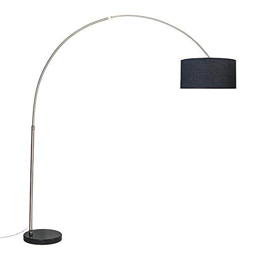 QAZQA Modern Bogenlampe stahl/nickel matt schwarzer Lampenschirm 50 cm - XXL/Innenbeleuchtung/Wohnzimmerlampe Metall/Textil Länglich LED geeignet E27 Max. 1 x 60 Watt