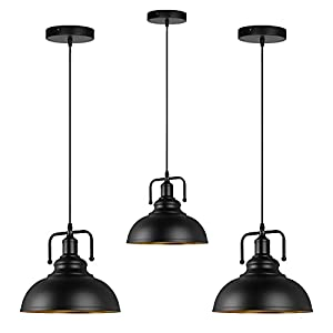 Industrial Barn Pendant Light, Black Farmhouse Hanging Light Fixtures for Kitchen Island, Dining Room, Bedroom, Hallway, Foyer (3 Pack)