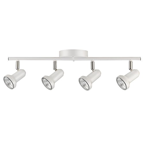 Globe Electric 59325 Melo 4-Light Track Lighting, Glossy White Finish, Bulbs Included