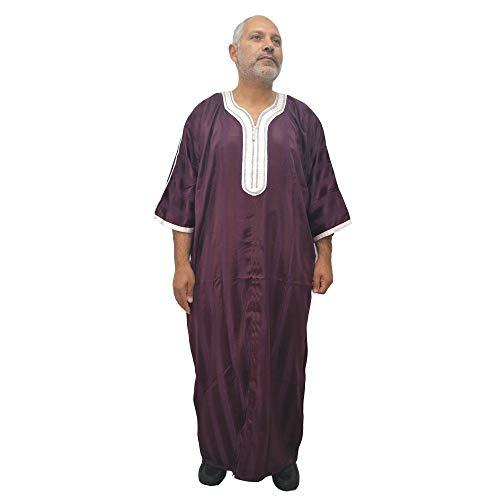 Horus Artesanía de Egipto Djellaba Chilaba Kaftan Tunika bequem, arabisch-marokkanisches Modell, Satin und Baumwolle, 66 cm breit und 135 cm lang Ca.