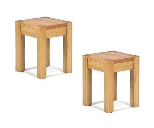2X Hocker 35x35cm Rio Bonito Farbton Honig hell Sitzhöhe 45cm Pinie Massivholz Stuhl Sitzhocker Blumenhocker geölt und gewachst