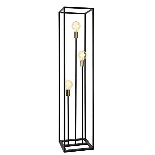 lux.pro Stehleuchte 140cm Standlampe 3 x E27 Metall 3-flammig Schwarz Messingfarben