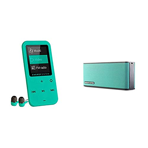 Energy Sistem Touch - Reproductor Mp4 (8 GB, Botones Táctiles, Radio FM, Microsd), Menta + Sistem Energy Music Box B2 Bluetooth Mint, Altavoz Portátil Inalámbrico.