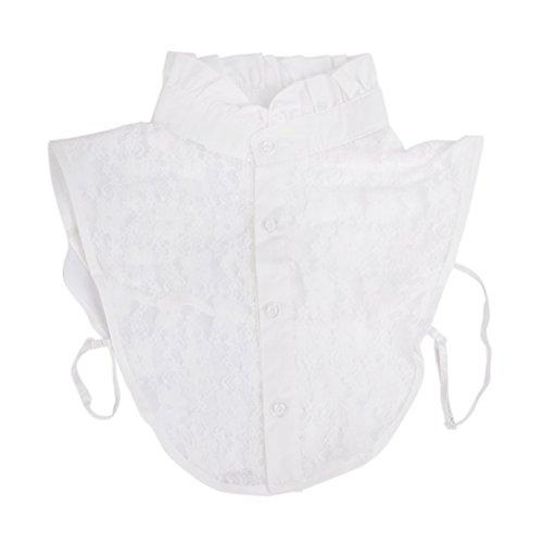 NUOLUX Halbes Hemd Bluse Kragen Frauen floraler Spitze abnehmbar Kragen (weiß)