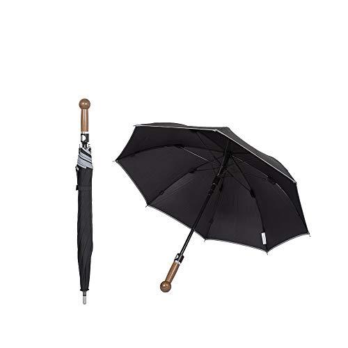 Sicherheitsschirm | Security Defense Regenschirm | Extrem stabil, Wind + Sturm sicher | Eleganter Nussbaum Griff| Selbstverteidigung Selbstbehauptung | Mit 78cm Länge super handlich und wirksam
