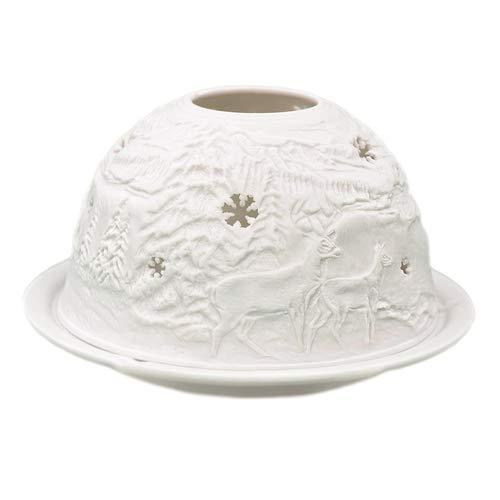 Porzellan-Teelicht-Windlicht, Starlight Nr.258, Schneeflocke (unterbrochen), Lithophanie weiß