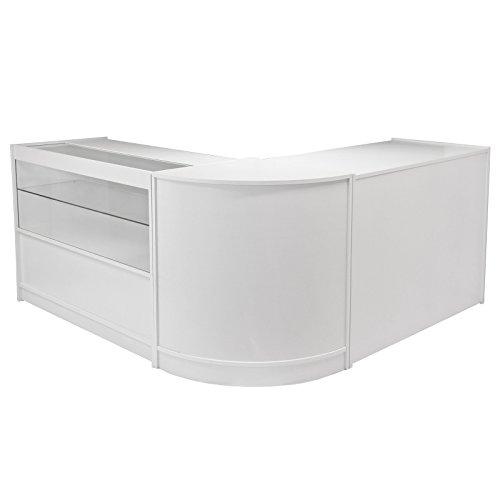 MonsterShop – Draco Set 3 Mostradores Mesas de Recepción mueble Oficina Mostradores Peluqueria Comercial Expositor| Blanco Brillante 120cm (anchura) x 60cm (profundidad) x 90cm (altura)