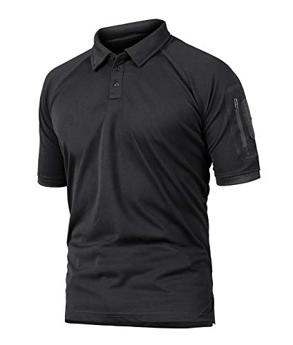 KEFITEVD US Militär Shirt Herren Kurzarm Tactical Hemd mit Zip-Taschen Klettflächen Army Poloshirt Atmungsaktiv Freizeitshirt Männer Schwarz M