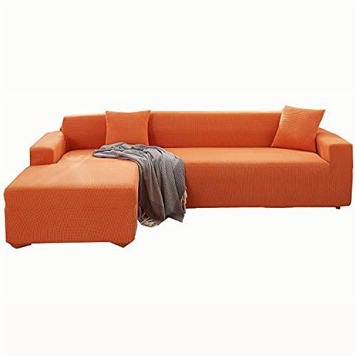 Sofabezug L-Form Stretch Polar Fleece Abschnitt Sofa Schonbezug Anti-Rutsch Ecksessel Couch Abdeckung Chaise Lounge Möbel Protector (Orange, 4-Sitzer & 2-Sitzer)