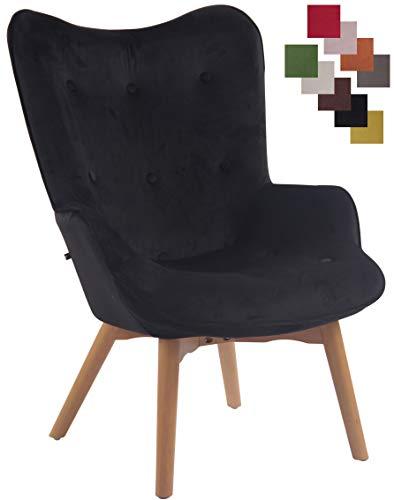 CLP Lounger Duke mit geknöpfter Polsterung und Stoffbezug I Loungesessel mit Armlehnen und Gestell aus Buchenholz, Farbe:schwarz