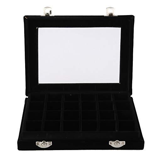 Cajas de joyas para mujeres - 24 rejillas Nail Art Decoration Organizador de almacenamiento Estuche Joyero Soporte para exhibición (Color : Black)