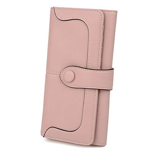 UTO Women RFID Blocking Bifold Wallet Purse 18 Card Slots Card Holder Fits 5.5' Cellphone Vegan Leather Pink