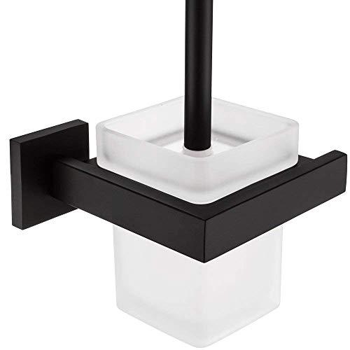 WOMAO Juego de portaescobillas para Inodoro de construcción de Acero Inoxidable y Vidrio con Cepillo y Taza, montado en la Pared Pintado para WC