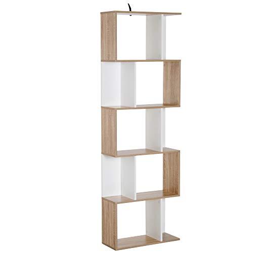 HOMCOM Bibliothèque étagère Meuble de Rangement Design Contemporain en S 5 étagères 60L x 24l x 185H cm Coloris chêne Blanc