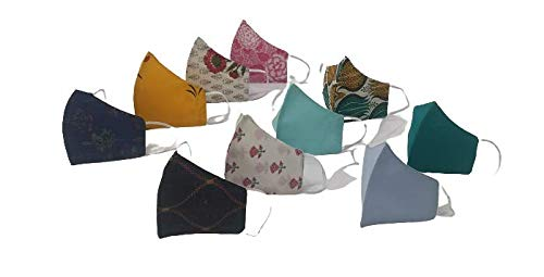 BANAS Men's and Women's Reusable Face Masks Double Side Rajasthani Sanganeri Print Cotton High Nose Washable 2 Cloth Layer Fashion Mask Multicolour_Free Size (Pack of 10)