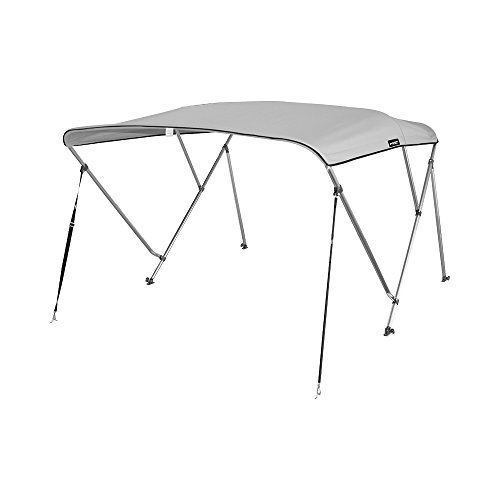 """MSC Standard 3 Bow Bimini Boat Top Cover with Rear Support Pole and Storage Boot (Grey, 3 Bow 6'L x 46"""" H x 73""""-78"""" W)"""