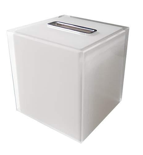 Gedy RA020200000 Porta Pañuelos Cuadrado, Blanco, 14.5x14.5x15 cm