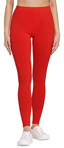 Bellivalini Damen Lange Leggings aus Viskose BLV50-147 (Rot, XL)