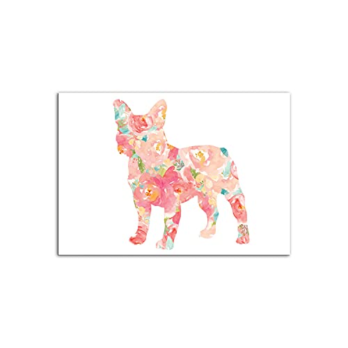 PENGDA Canvas Wall Art for Watercolor Frenchie Dog French Pet Bulldog Nordic Poster on Canvas for Home Living Room Bedroom Unframed 8.4x12in